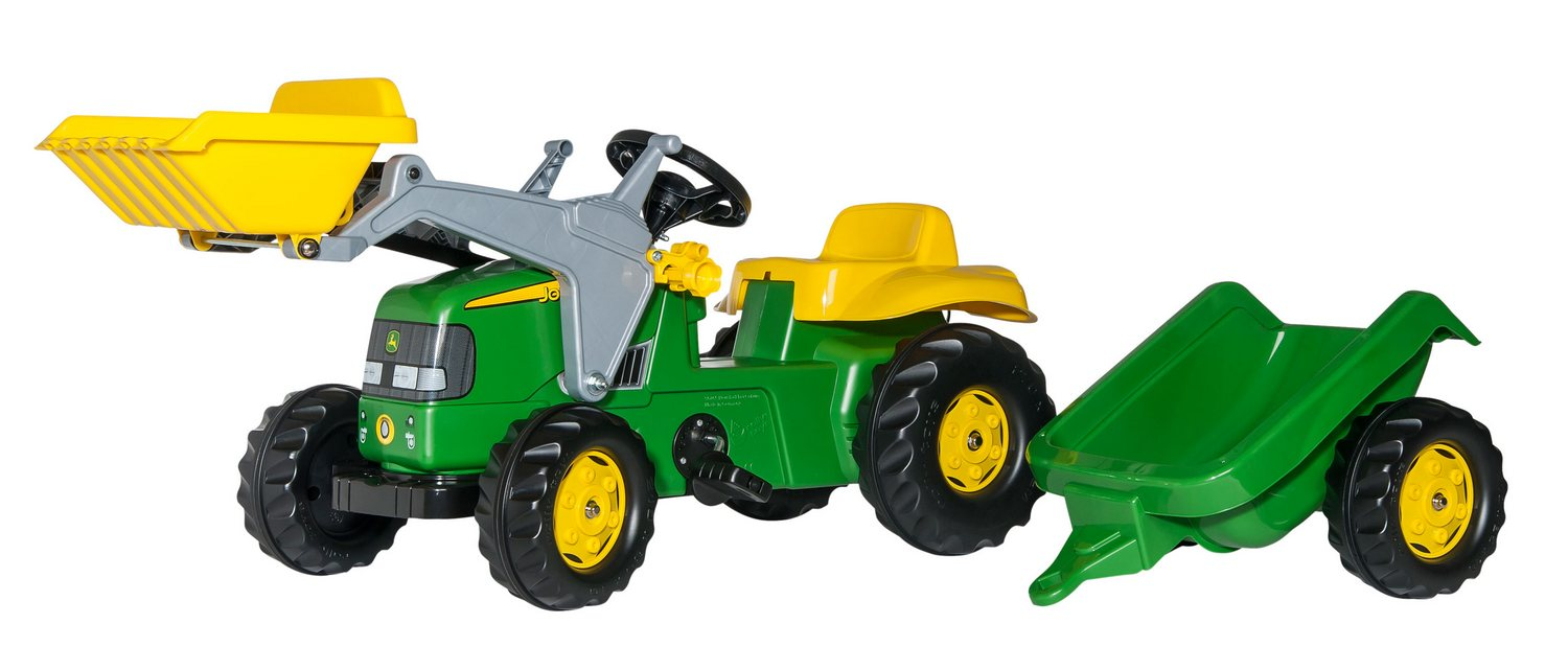 Tractor cu pedale Rolly Toys, John Deere cu incarcator frontal si remorca
