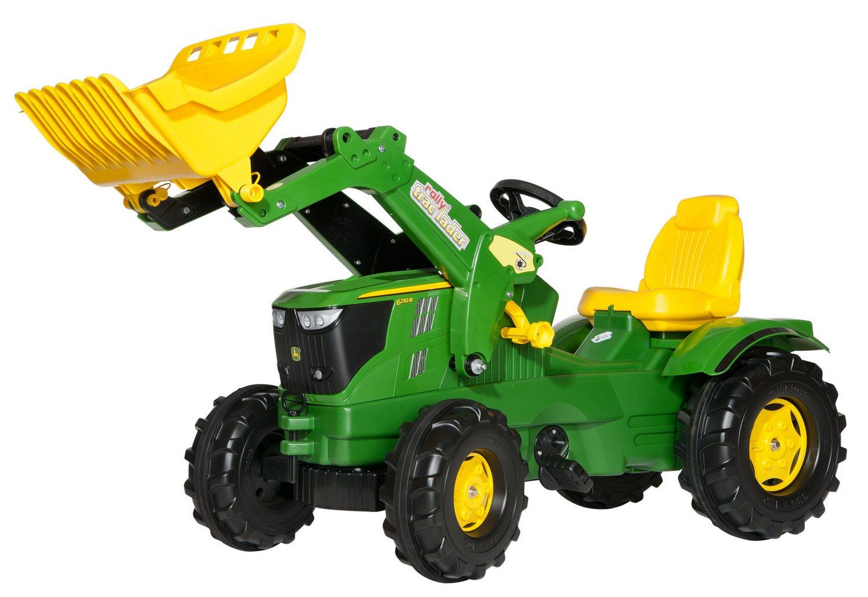 Tractor cu pedale Rolly Toys, John Deere 6210R cu incarcator frontal