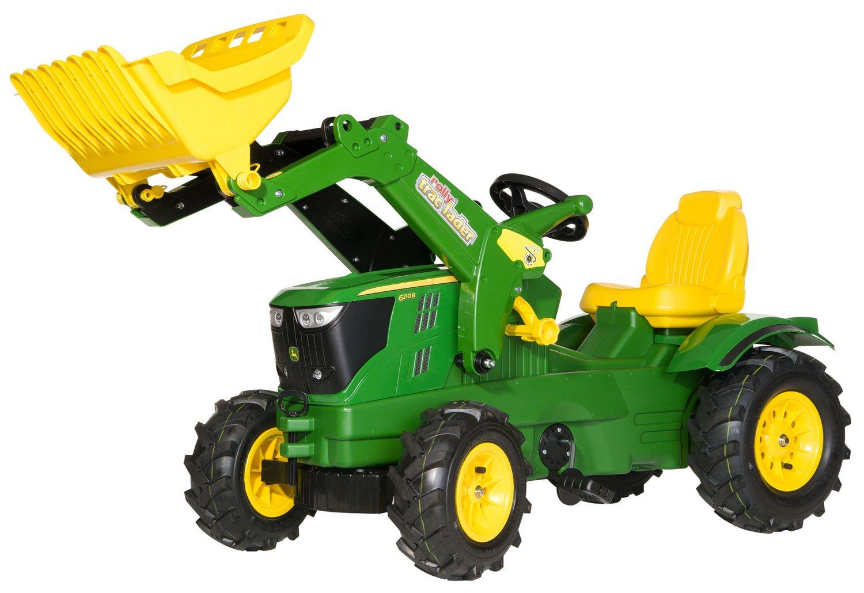 Tractor cu pedale Rolly Toys, John Deere 6210R cu anvelope pneumatice