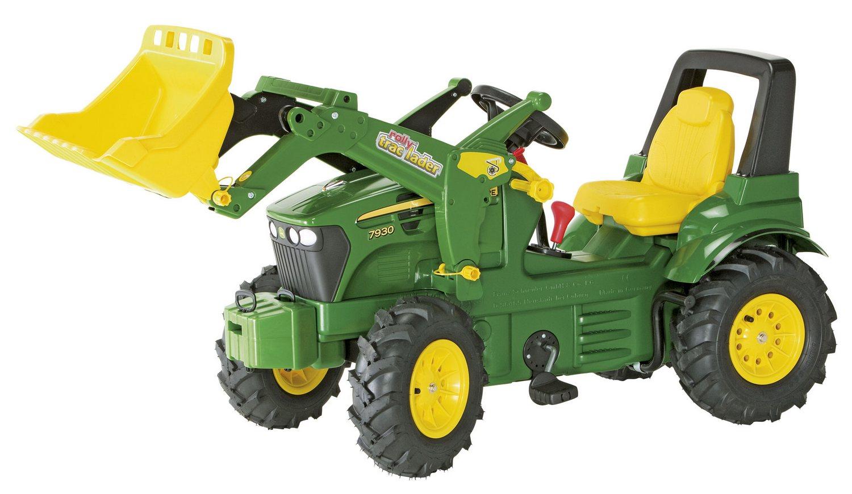 Tractor cu pedale Rolly Toys, John Deere 7930 cu anvelope pneumatice, schimbator de viteze si frana