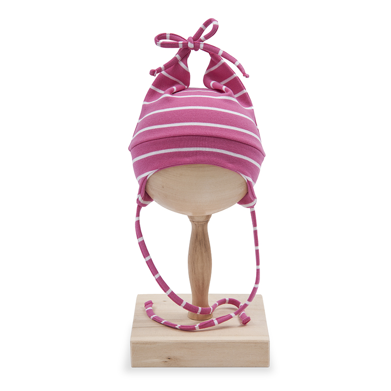Caciula cu urechi copii, din bumbac, roz cu dungi albe