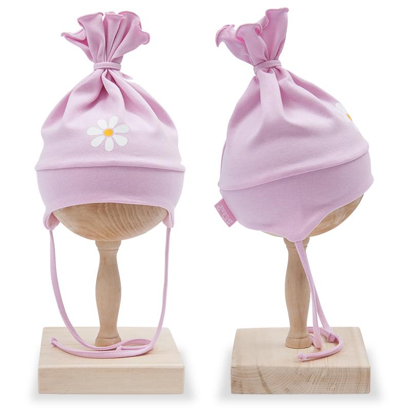 Caciula cu urechi copii, din bumbac, roz cu motiv