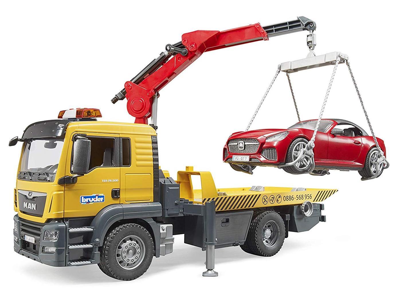 Camion platforma MAN TGS cu macara, roadster, Bruder