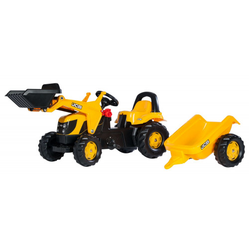 023837 - Tractor cu pedale Rolly Kid JCB cu incarcator frontal si remorca