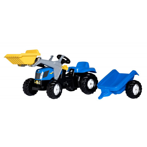 023929 - Tractor cu pedale Rolly Toys, New Holland T7040 cu incarcator frontal si remorca