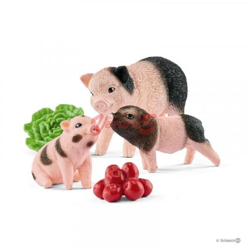Figurina Schleich 42422, Miniatura de porc si purcei