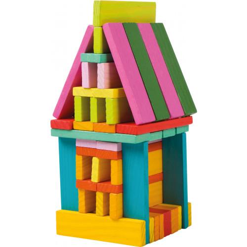 Blocuri de constructi din lemn, multicolor