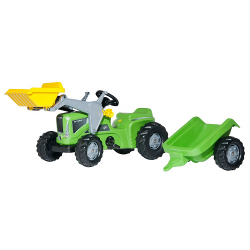 630035 - Tractor cu pedale Rolly Toys, Futura cu incarcator frontal, remorca