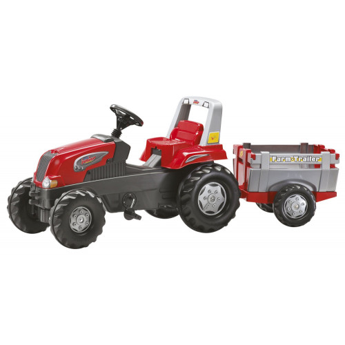 800261 - Tractor cu pedale Rolly Toys Junior cu remorca Farm Trailer