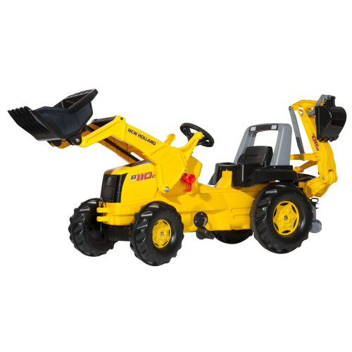 813117 - Tractor cu pedale Rolly Toys, New Holland Construction cu excavator in spate