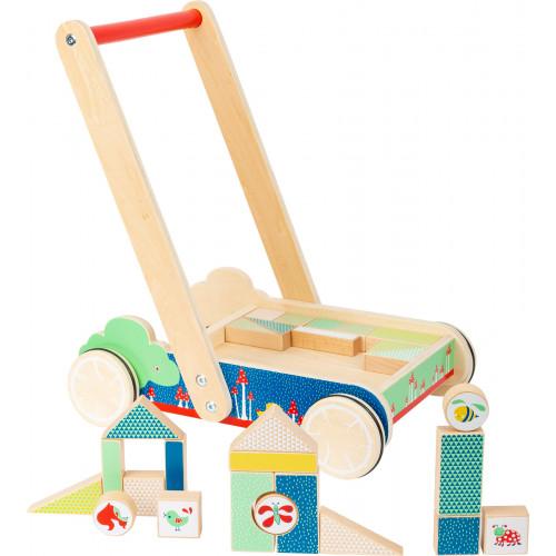 Antemergator cu blocuri de constructie, Baby walker din lemn