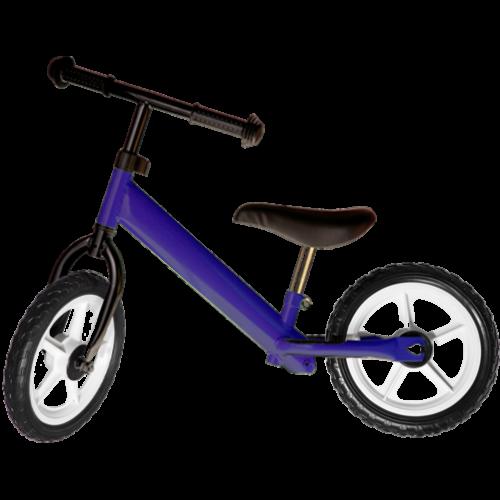 Bicicleta fara pedale albastru inchis pentru copii, cu roti albe