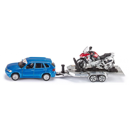BMW X5 cu remorca si motocicleta BMW, Siku 2547