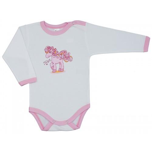 Body bebelusi, cu maneca lunga, alb, cu motiv ponei, Basic