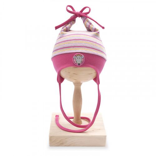 Caciula cu urechi copii, din bumbac, roz cu dungi