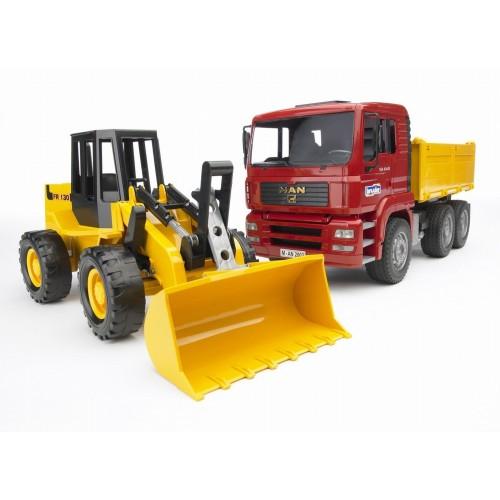 Bruder 02752 - Camion MAN TGA basculabil si Excavator FR130
