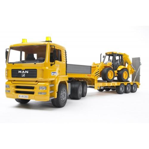 Camion Bruder 02776 MAN TGA cu remorca cu platforma si excavator JCB 4CX