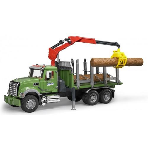 Camion Bruder Mack forestier cu macara, Bruder 02824