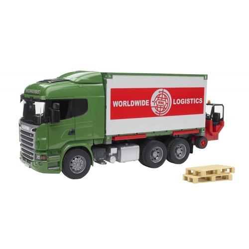 Camion Bruder 03580 Scania cu container si stivuitor portabil