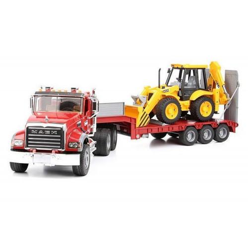 Camion MACK Bruder 02813 cu platforma cu JCB 4CX