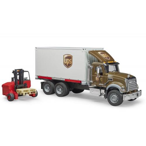 Camion MACK Granite UPS cu container si stivuitor portabil, Bruder 02828