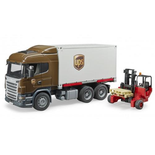Camion Scania UPS cu container si stivuitor portabil, Bruder 03581