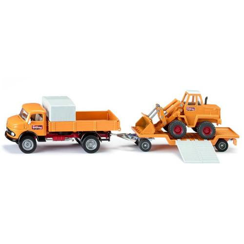 Camion Siku 4117 Mercedes 710 cu remorca si excavator Kramer la scara 1:50