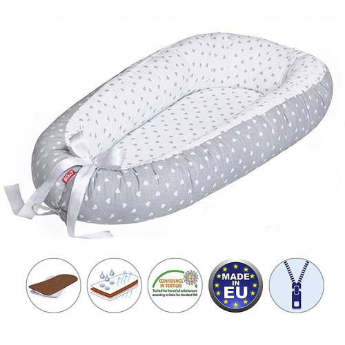 Cuib pentru bebelusi Scamp, Premium Baby Nest, cu saltea de cocos, 100% bumbac, antialergic, Little Heart White Grey