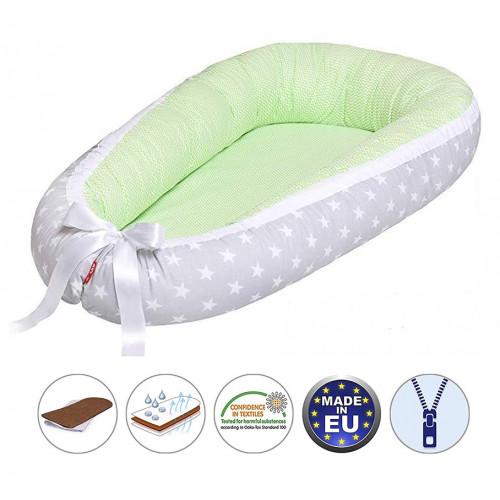 Cuib pentru bebelusi Scamp, Premium Baby Nest, cu saltea de cocos, 100% bumbac, antialergic, Green Grey Star Zigzag