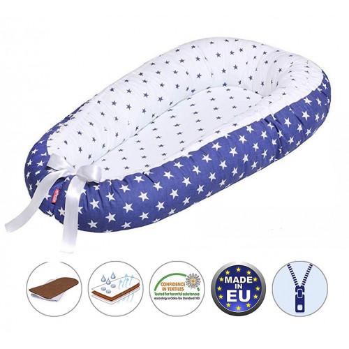 Cuib pentru bebelusi Scamp, Premium Baby Nest, cu saltea de cocos, 100% bumbac, antialergic, Manhattan Blue