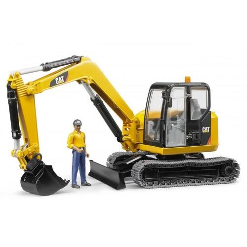 Excavator Cat Minibagger cu muncitor Bruder 02466