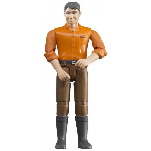 Figurina barbat cu camasa portocalie Bruder bworld 60007