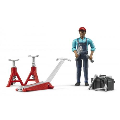 Figurina mecanic auto si accesorii, Bruder 62100