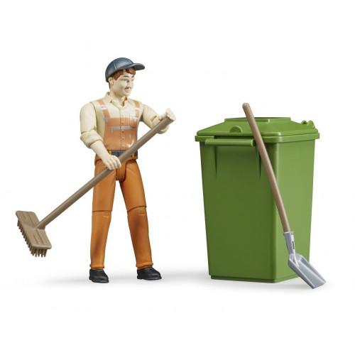 Figurina muncitor curatenie stradala cu accesorii, Bruder 62140