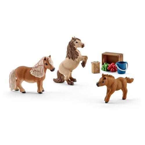 Figurina Schleich 41432, Familie de ponei Shetland miniatura