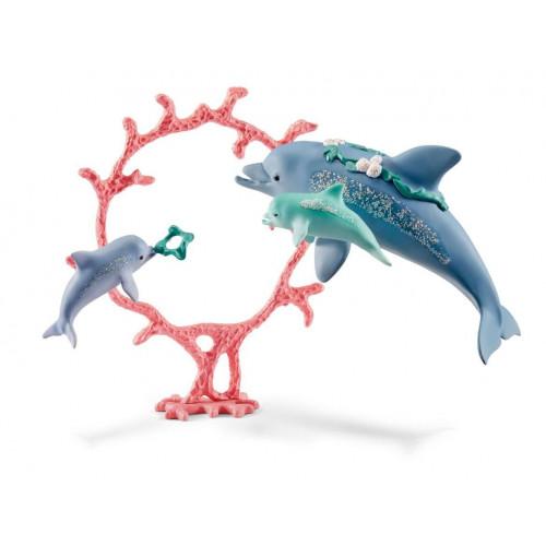 Figurina Schleich 41463, Delfini mama cu copii 1