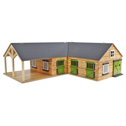 Grajd din lemn pentru cai pe colt cu 3 boxe si spatiu depozitare 610211 Kids Globe
