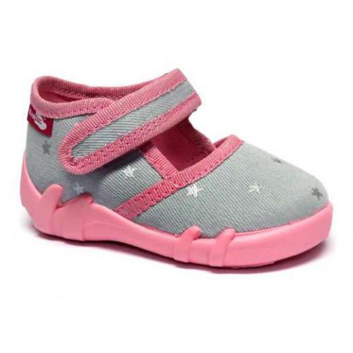 Incaltaminte fetite, din material textil, gri-roz, cu stelute