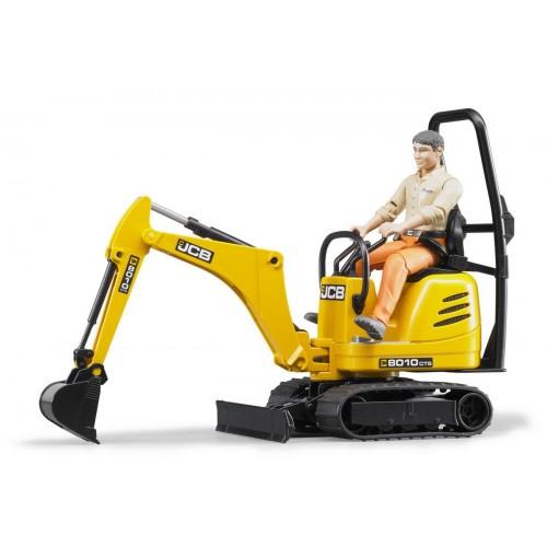 JCB micro excavator cu figurina muncitor, Bruder 62002