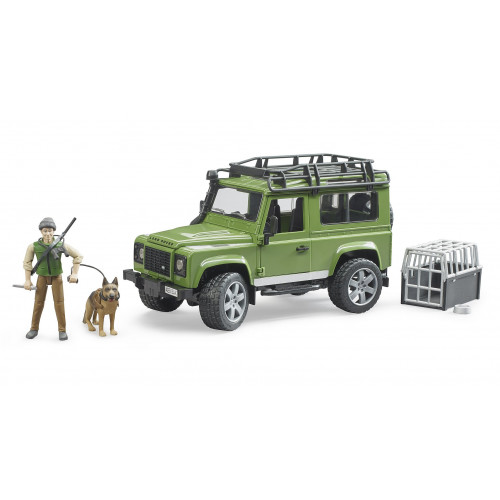 Land Rover Defender cu padurar si caine, Bruder 02587