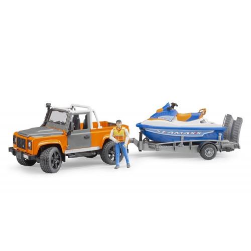 Land Rover Defender cu remorca si jet ski cu sofer, Bruder 02599