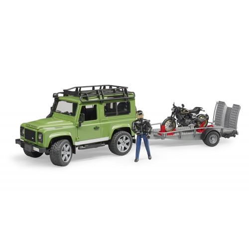 Land Rover Defender cu remorca si motocicleta Ducati, Bruder 02598