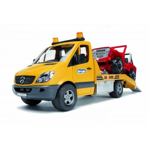 Masina de tractare Bruder 02535, Mercedes Benz Sprinter si masina de teren
