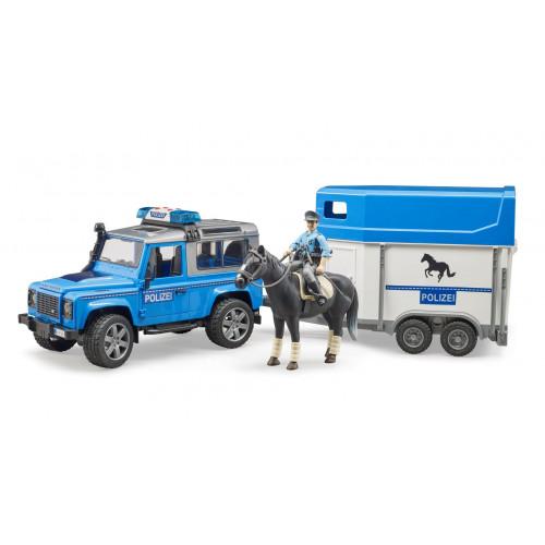 Masina de politie Land Rover cu remorca cai si figurina, Bruder 02588