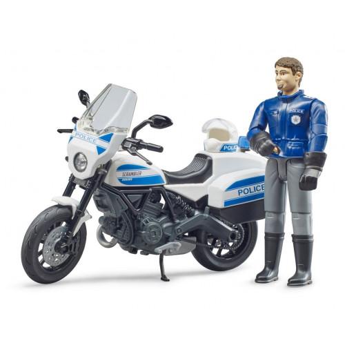 Motocicleta de politie Ducati Scrambler cu motociclist, Bruder 62731