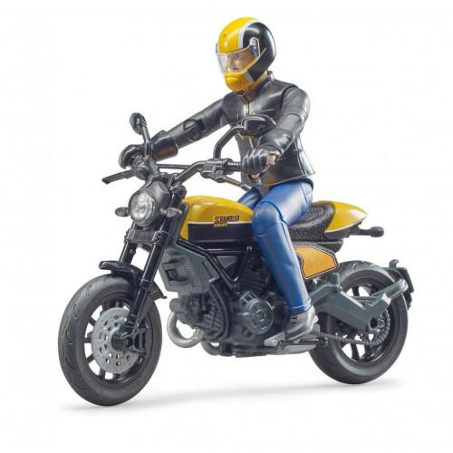 Motocicleta Ducati Scrambler cu figurina motociclist, Bruder 63053