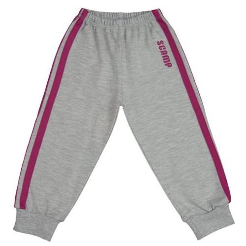 Pantaloni trening copii cu elastic in talie, gri cu dungi mov