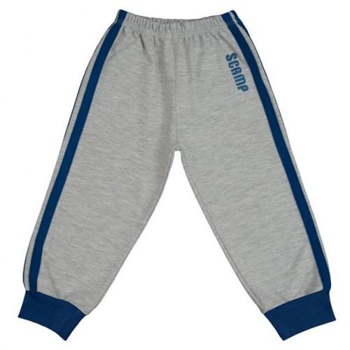 Pantaloni trening cu elastic in talie gri cu dungi albastre