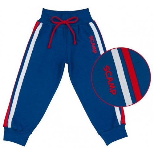 Pantaloni trening bebelusi cu banda lata in talie, albastru inchis
