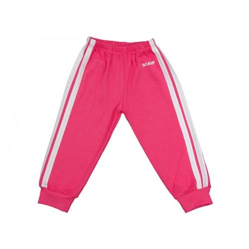 Pantalonaşi cu elastic în talie roz fucsia-alb